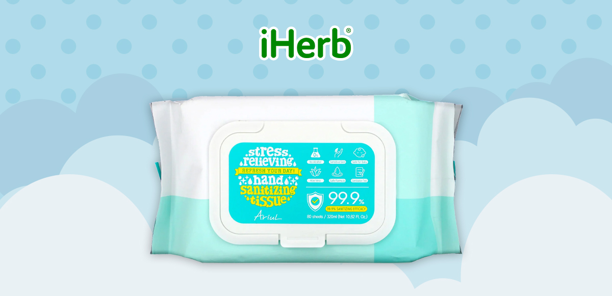 【iHerb】 Ariul 99.9% 消毒 蘆薈濕巾 80張